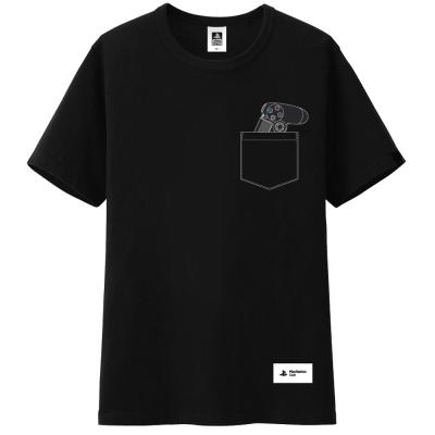 印刷口袋T恤黑 XL
