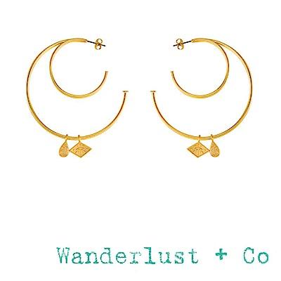 Wanderlust+Co 澳洲品牌 雙C金色圓形耳環 銀河星系小墜 ARYA HOOP