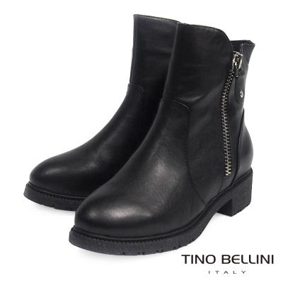 Tino Bellini 中性雙拉鍊低跟短靴_黑