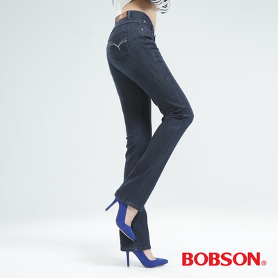 BOBSON (保暖)膠原蛋白直筒褲-深藍 8099-52