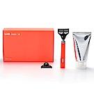 韓國 bläk 經典刮鬍刀禮盒(刮鬍刀+柔順刮鬍膏+刮鬍刀片) - 橘