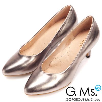 G.Ms.  絕對定番-全真皮尖頭雙窩心素面靜音跟鞋-銀灰