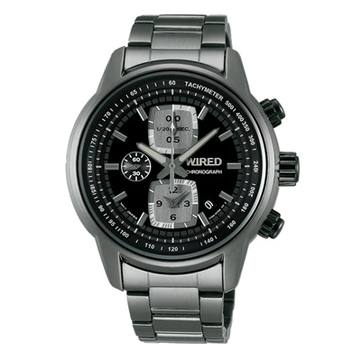 WIRED 黑夜時空計時碼錶(AF8U21X1)-黑x灰/43mm