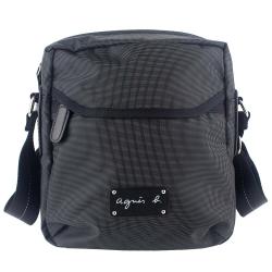 agnes b. 皮標黑色皮飾邊小型斜背包