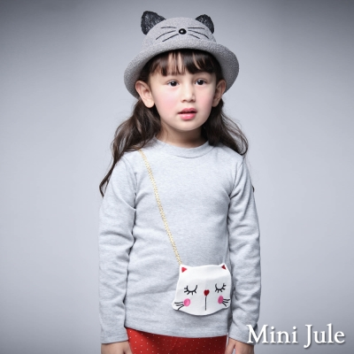 Mini Jule 童裝-上衣 貓咪造型長袖棉T恤(灰)