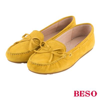 BESO繽紛奇幻 經典都會蝴蝶結全真皮莫卡辛鞋~黃
