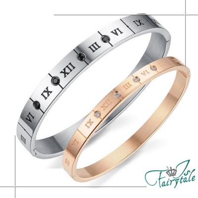 iSFairytale伊飾童話 羅馬方牌 鈦鋼情人男女手環