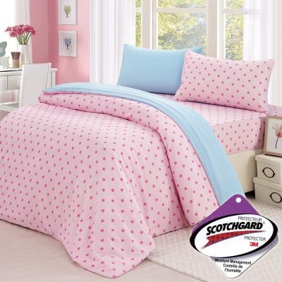 精靈工廠 3M吸濕排汗專利心漾點點雙人三件式床包組-粉點+天藍