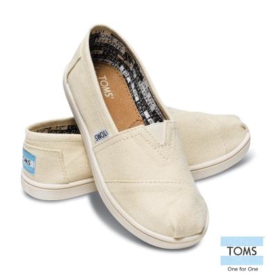 TOMS 經典帆布懶人鞋-孩童款(米白)