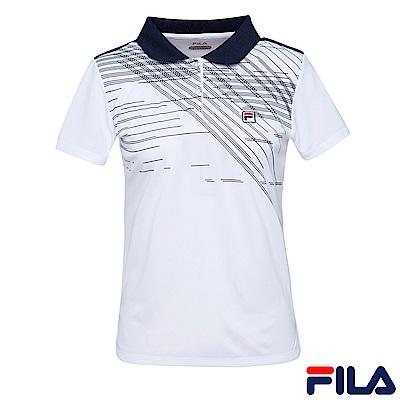 FILA 女抗UV吸濕排汗POLO衫-白 5POS-1005-WT