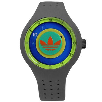 adidas愛迪達 Originals多層次雙層時標矽膠腕錶-橘綠x灰/41mm