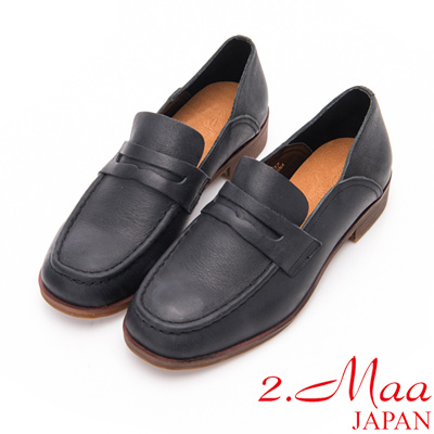 2.Maa - 刷舊復古感打蠟牛皮休閒樂福鞋-黑
