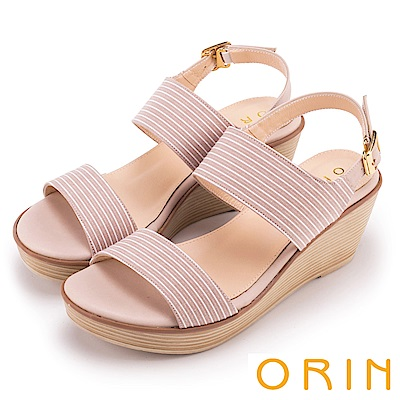 ORIN 愜意渡假風情 嚴選條紋布面楔型涼鞋-粉色