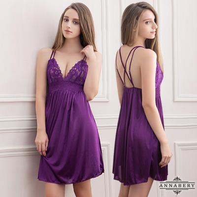 大尺碼 深紫蕾絲柔緞睡衣L-2L Annabery