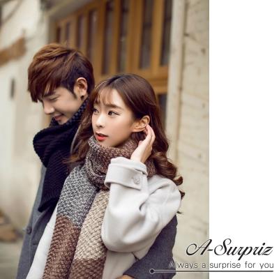 A-Surpriz 韓風雙色編織拼接加長厚圍巾(米咖系)
