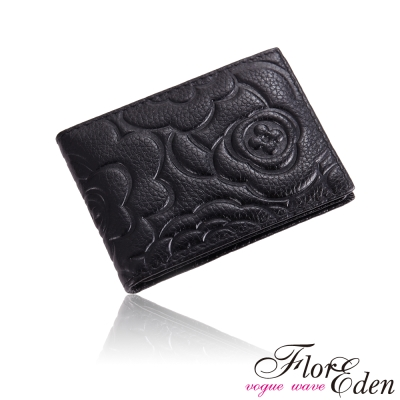 DF Flor Eden皮夾 - 玫瑰情意立體壓紋真皮款短夾-黑色