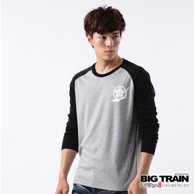 BIG TRAIN-飛流躍鯉連袖TEE-灰