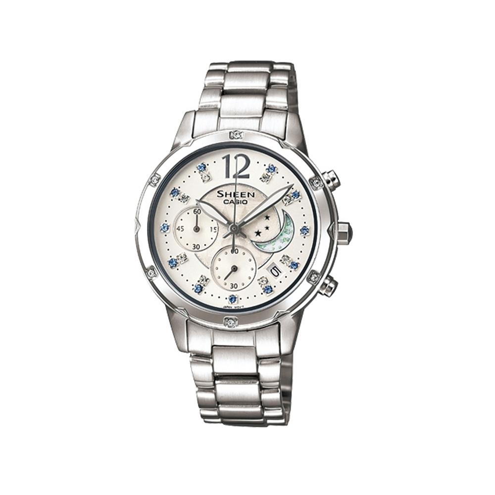 SHEEN 高雅的日月星辰計時腕錶(SHE-5017D-7A)-白/39.6mm