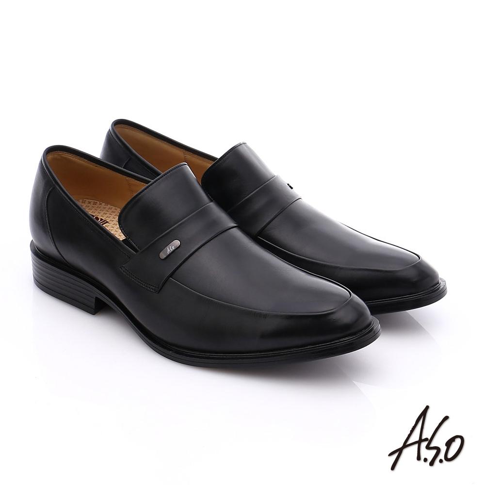 A.S.O 挺力氣墊 小牛皮直套式奈米氣墊皮鞋 黑色 @ Y!購物