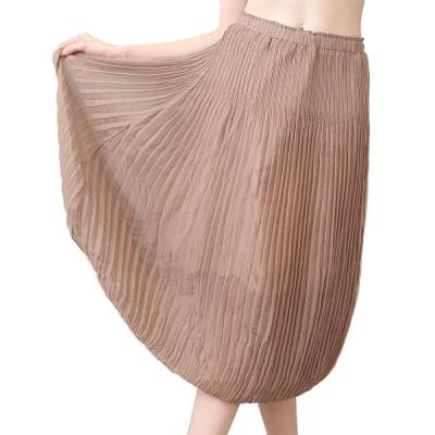 優雅可可色壓摺長裙-玩美衣櫃