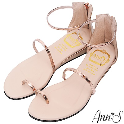 Ann'S極致舒適仙女光澤顯瘦坡跟涼鞋-玫瑰金