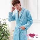 保暖睡袍 法式甜心 柔軟珊瑚絨一件式綁帶連身睡衣(湖藍F) AngelHoney天使霓裳