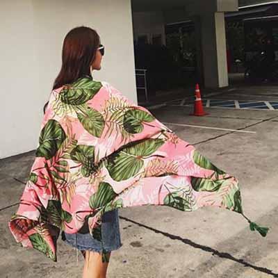 梨花HaNA 夏威夷粉紅絲圍巾防曬沙灘披肩astar-速