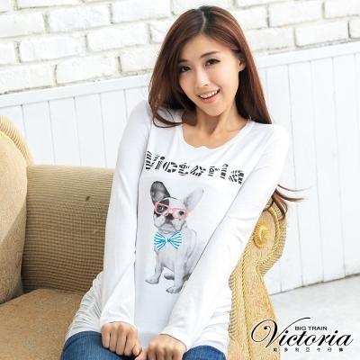 Victoria 法國紳士犬長版T-女-白色
