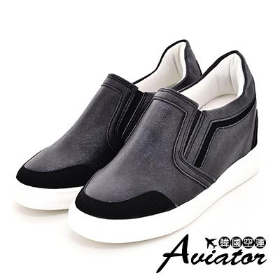 Aviator*韓國空運-正韓製古著刷色皮革拼接麂皮增高休閒鞋-黑