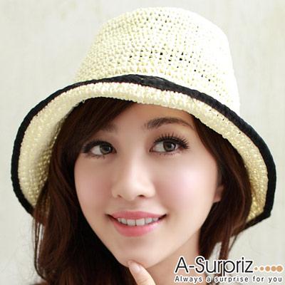 A-Surpriz 休閒風情麻編遮陽帽(米白)