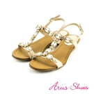 Arus-性感水鑽寶石真皮楔型厚底T字涼鞋-米杏色