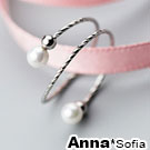 AnnaSofia 璇刻細線綴雙貝珠 925純銀開口戒指(銀系)