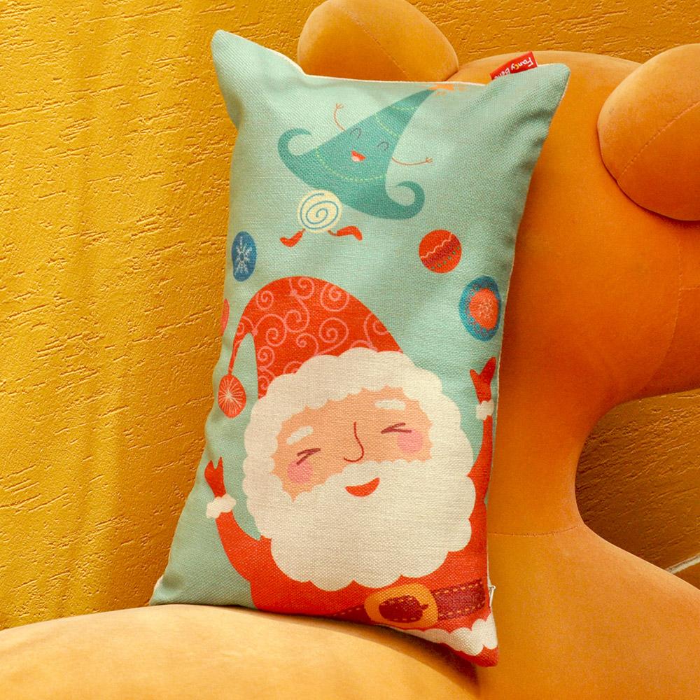 義大利Fancy Belle 聖誕派對 麻織午安抱枕 28*45CM