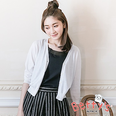 betty's貝蒂思 開釦短版針織罩衫(白色)