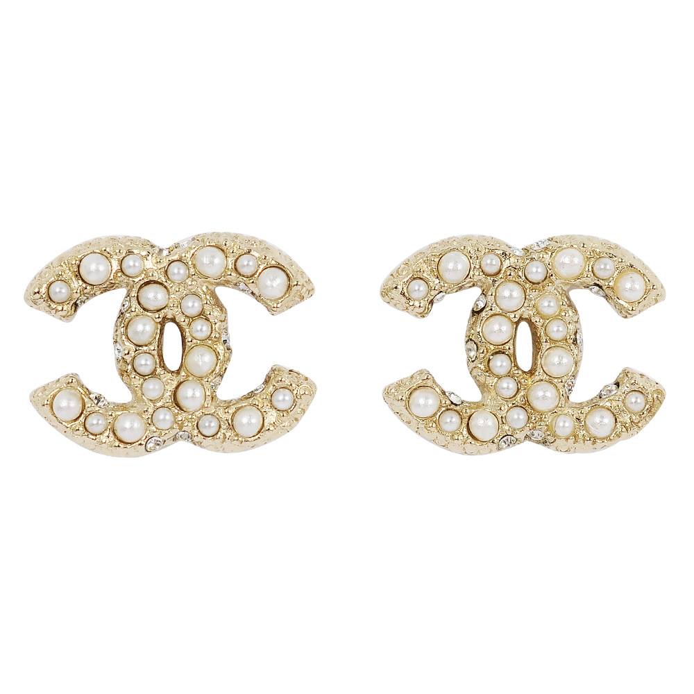 CHANEL香奈兒 經典雙C LOGO 鑲嵌珍珠滾邊壓紋金色耳環