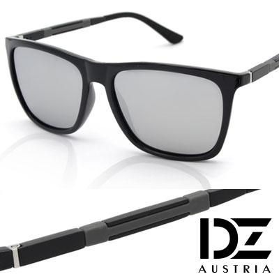 DZ 時尚美學 抗UV 偏光太陽眼鏡墨鏡(黑框水銀膜)
