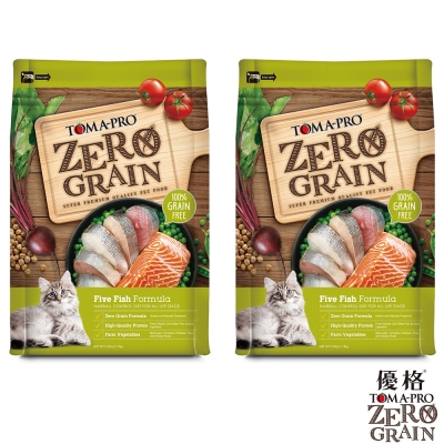TOMA-PRO 優格 天然零穀食譜 全齡貓 化毛配方(5種魚)14磅X2包
