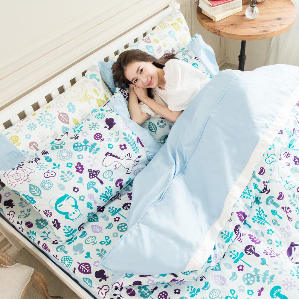 奶油獅-好朋友系列-台灣製造-100%精梳純棉床包兩用被套四件組(水漾藍)-雙人加大6尺