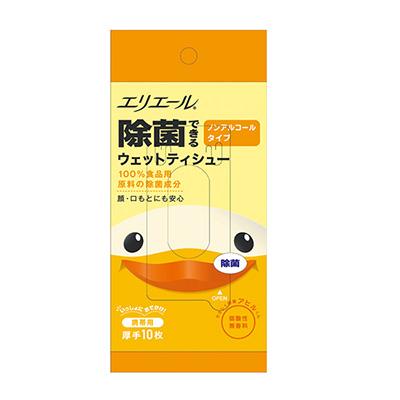 日本大王elleair小鴨抗菌濕紙巾(不含酒精)攜帶包10抽/包
