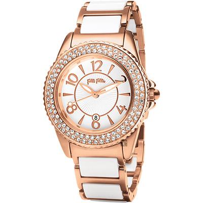 Folli Follie Glow 維多利亞晶鑽陶瓷女錶~玫瑰金x白 32mm