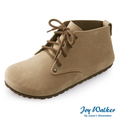Joy Walker 高筒拼接綁帶包鞋*駝色
