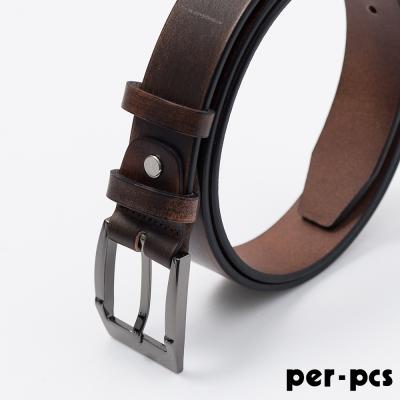 per-pcs ZIBIYA時尚高品質皮革格紋皮帶_咖啡(F8245K)