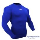 SUPERFEATURING 男女款 專業運動長袖 高領緊身衣 寶藍 - 快速到貨