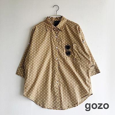 gozo 文青圓點寬版襯衫上衣(二色)