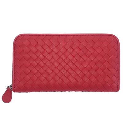 BOTTEGA VENETA 經典手工編織小羊皮拉鍊長夾(紅色)