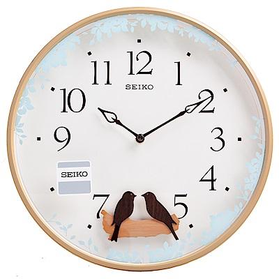 SEIKO 精工 搖動鳥擺飾 滑動式秒針 靜音 時鐘 掛鐘(QXC237Z)-33cm