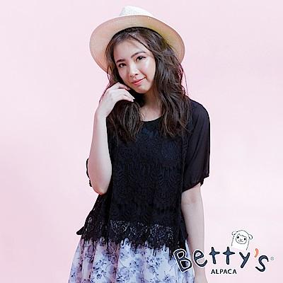 betty's貝蒂思 蕾絲假兩件式花繪雪紡洋裝(黑色)