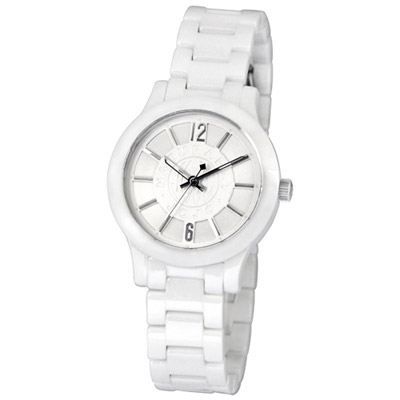 NATURALLY JOJO 翱翔世界陶瓷腕錶-白/35mm