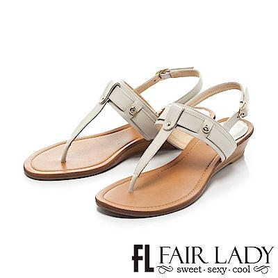 Fair Lady 簡約魅力皮革T字夾腳坡跟涼鞋 灰