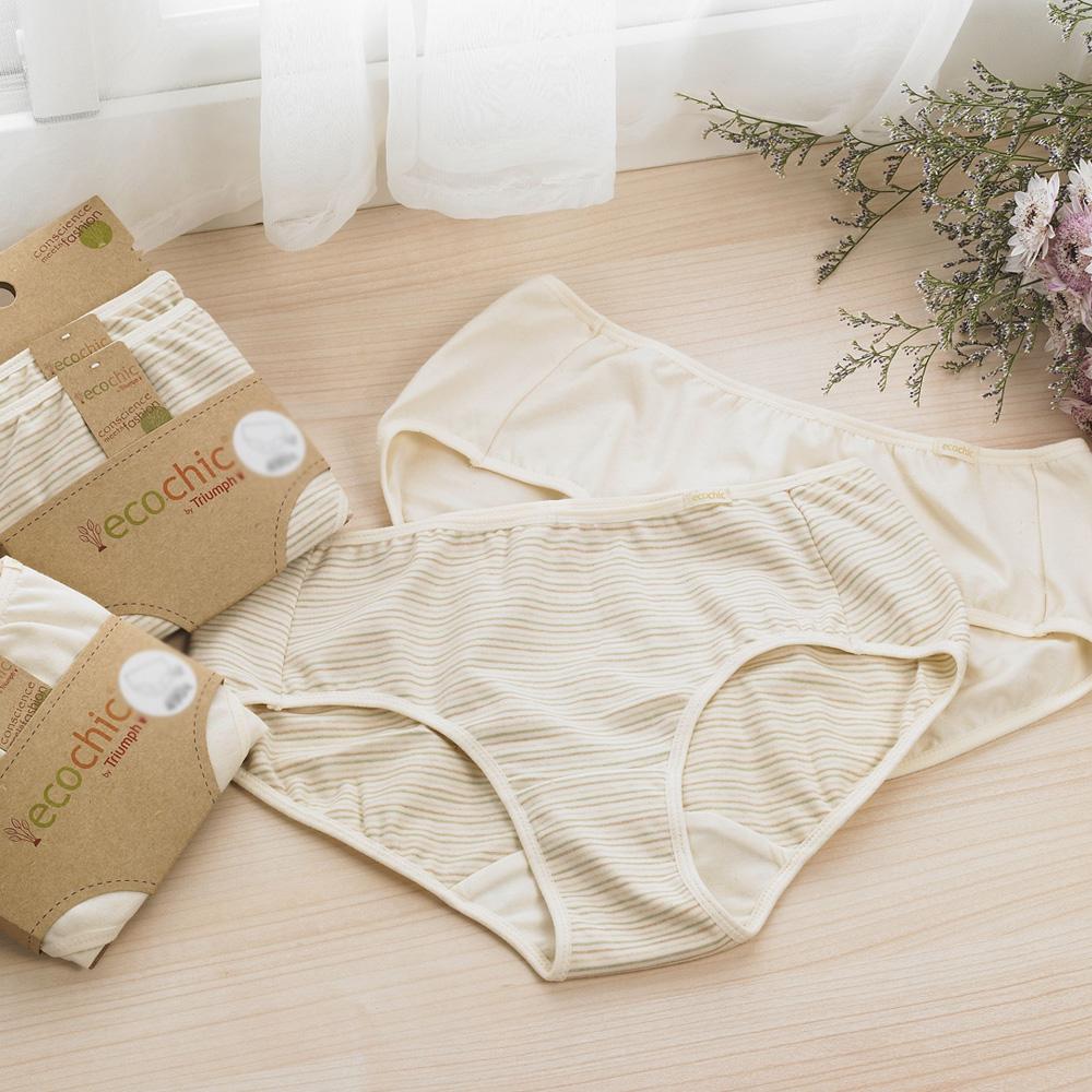 黛安芬-eco chic裸紗原棉 平口褲包兩件入 M-EL (膚色條紋)